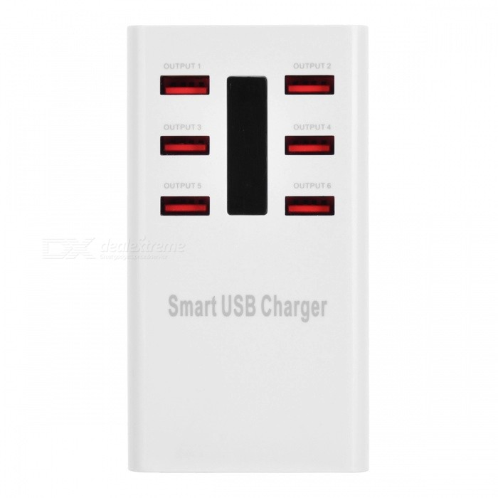 5V/8A 6-Port USB Smart Quick Charger Power Adapter - White (EU Plug)AC Chargers<br>Form ColorWhiteModelWLX-616MaterialABSQuantity1 DX.PCM.Model.AttributeModel.UnitCompatible ModelsUSB devicesInput Voltage100~240V DX.PCM.Model.AttributeModel.UnitOutput Current8 DX.PCM.Model.AttributeModel.UnitOutput Voltage5 DX.PCM.Model.AttributeModel.UnitPower AdapterEU PlugOther Features2 ports: 2.1A; 4 ports: 1A; With intelligent output identification functionPacking List1 x Charger1 x charging cable (EU plug / 140 cm)<br>