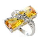 Women's Stylish Cool Zircon Decorated Ring - Golden + Silver (US Size 7)
