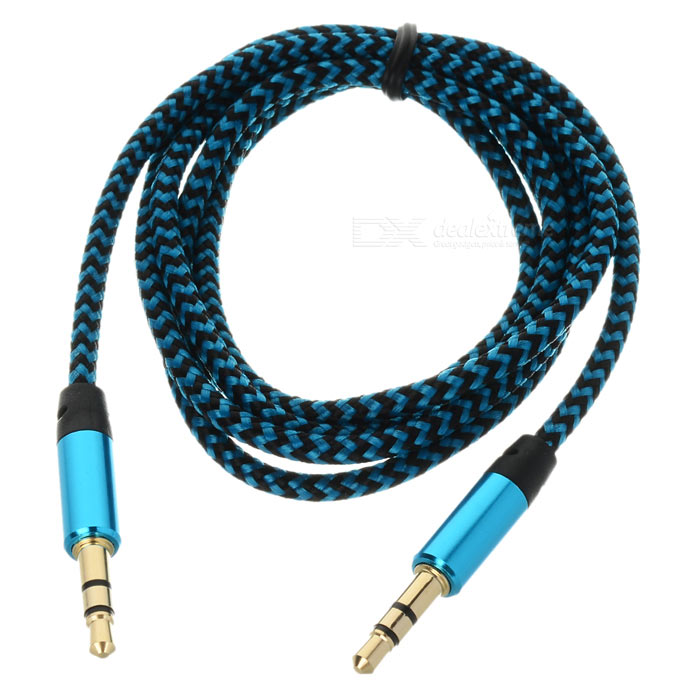 3.5mm Male to Male Car Audio Braided PVC Cable - Deep Blue (150cm)
