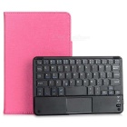 "Portable Bluetooth v3.0 59-Key Keyboard w/ PU Leather Cover for 7""~8"" Tablet - Deep Pink + Black"