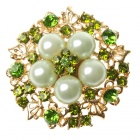 Elegant Adjustable Pearl with Austrian Crystal Flower Ring - Peridot Green