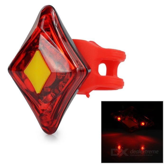 Rechargeable 4-LED 4-Mode Red Light Bike Safety Warning Lamp - Red
