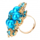 Elegant Adjustable Pearl Flower Ring - Swiss Blue