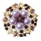 Elegant Adjustable Pearl Flower Ring - Amethyst