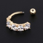Navel Belly Button Bar Ring Ball Surgical Body Piercing - Gold + White