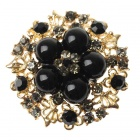 Elegant Adjustable Pearl Flower Ring - Onyx Black