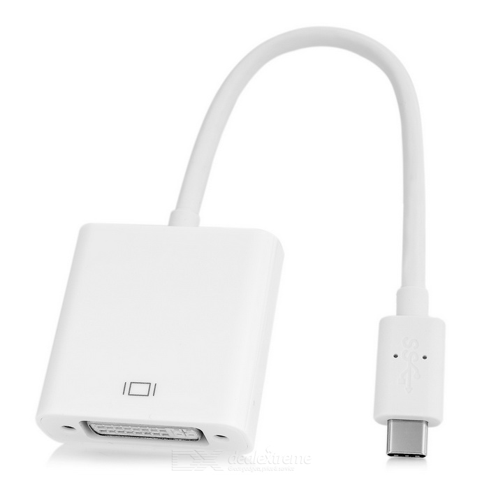 USB 3.1 Type-C to DVI HD Connection Adapter Cable - White (17cm)