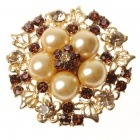 Elegant Adjustable Pearl Flower Ring - Golden Citrine