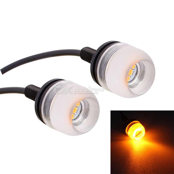 MZ 1.5W 18mm LED Car Daytime Running Light Yellow 3-SMD 150lm (Pair)