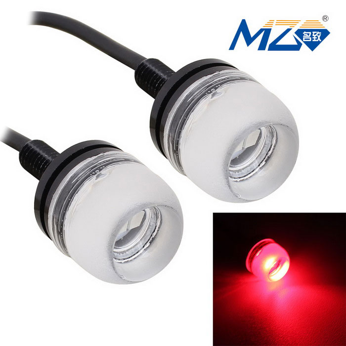MZ 1.5W 18mm LED Car Daytime Running Light Red 3-SMD 150lm (Pair)