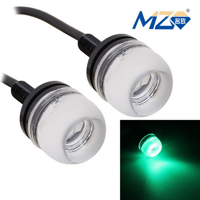 MZ 1.5W LED Car Daytime Running Light Green 577nm 3-SMD 150lm (Pair)