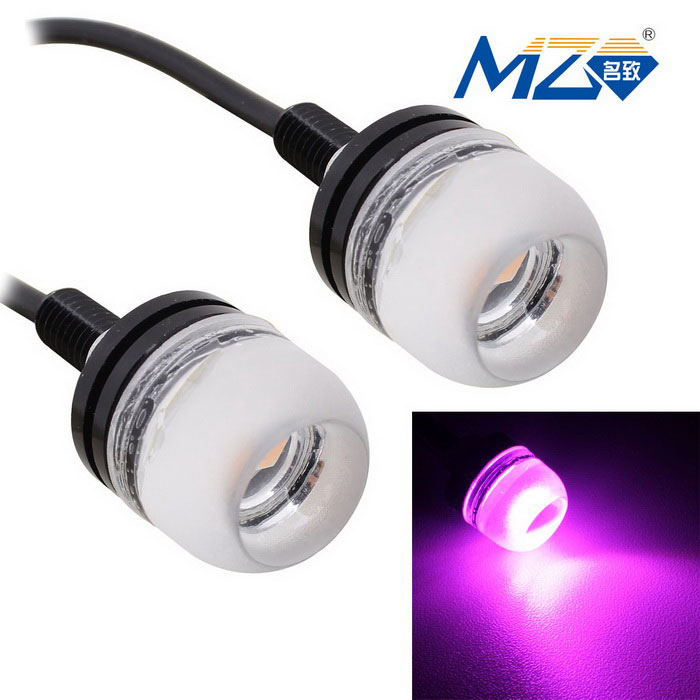 MZ 1.5W 18mm LED Car Daytime Running Light Pink 380nm 3-SMD (Pair)