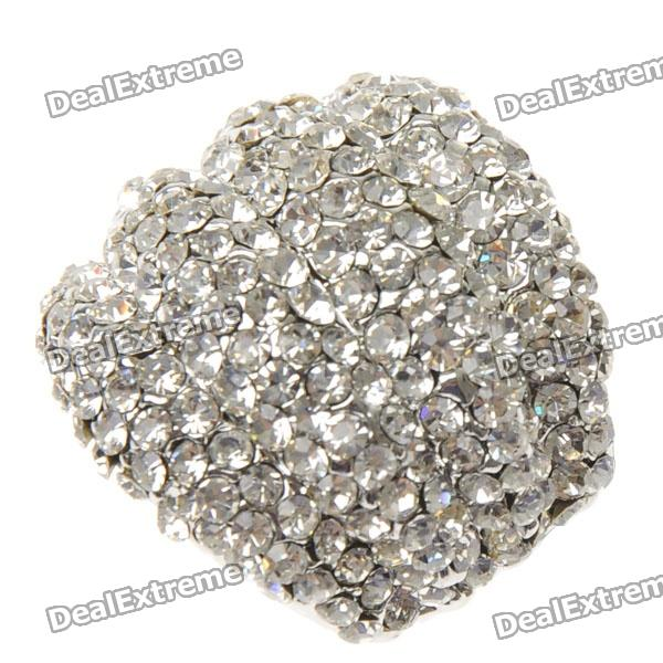 Luxury Adjustable White CZ 18KP Micropave Ring