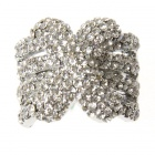 Luxury Adjustable White CZ 18KP Micropave X Ring