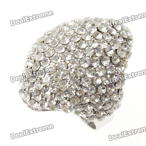 Luxury Adjustable White CZ 18KP Ring