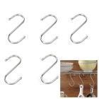 Kitchen Gadgets Large S-Shape Stainless Steel Hanging Hook Hanger - Silver (5pcs)