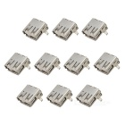 USB A-Type Female 90 Degree Connector DIY Parts - Silver (10 PCS)