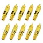 Jtron Audio Video Soldering Gold-Plated Terminal RCA Connection Plug Connector - Golden (10PCS)