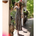 Women's Fashionable Bohemian Slim V-Neck Spaghetti Strap Beach Long Dress - Black + White (L)