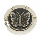 Lovely Enamel Carved Butterfly Handbag Purse Hook Hanger - Black