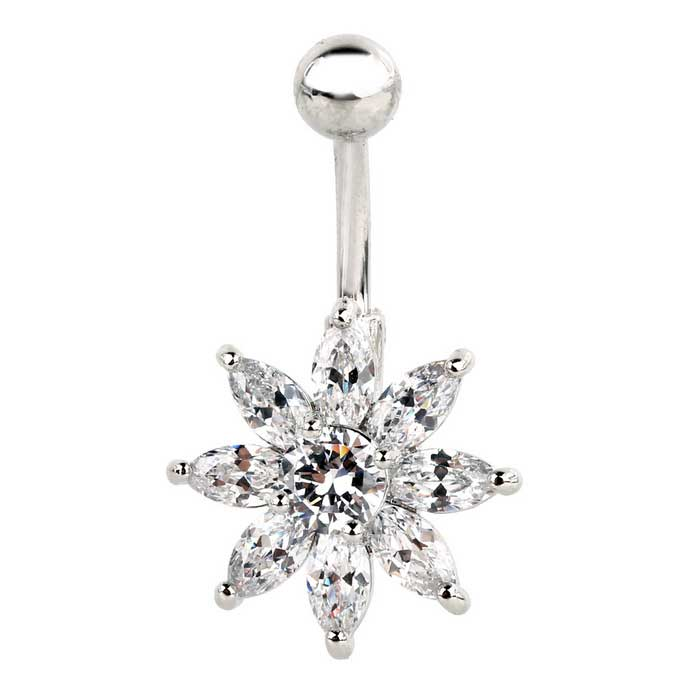 Flower Belly Navel Bar Ring Body Piercing Jewellery - Silver + White