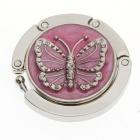 Lovely Enamel Carved Butterfly Handbag Purse Hook Hanger - Pink
