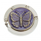 Lovely Enamel Carved Butterfly Handbag Purse Hook Hanger - Purple