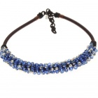 London Blue Crystal Gemstone with Silk Knot Design Necklace