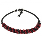 Classic Red and Black Crystal Gemstone with Silk Knot Design Necklace
