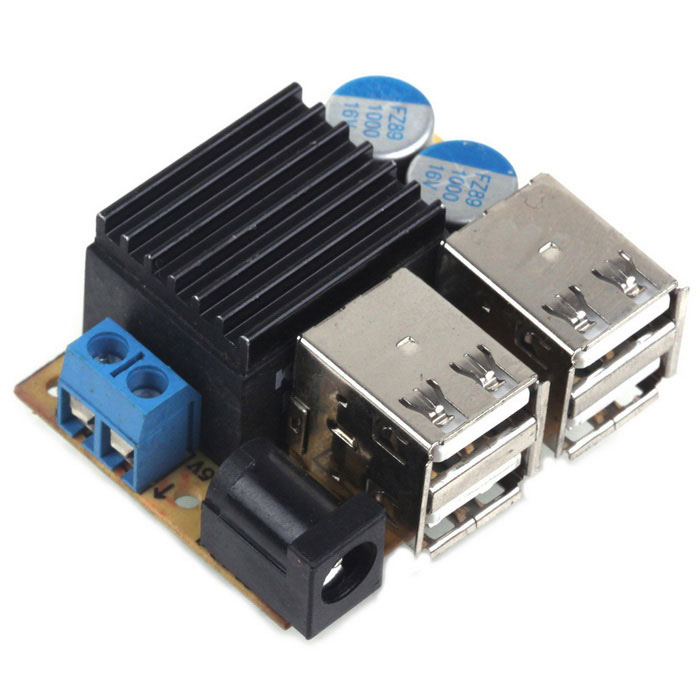DC Connector 9~45V to 5V 5A 4-USB Power Supply Charging Module for Phone /  GPS / Car DVR