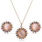 Women's Fashionable Sun Flower Style Imitation Opal Pendant Necklace - Rose Gold