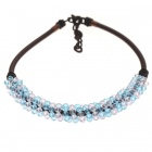 Sky Blue and Pink Crystal Gemstone with Silk Knot Design Necklace