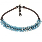 Swiss Blue Crystal Gemstone with Silk Knot Design Necklace