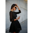Fashion Women's Lace Long Sleeves Dress - Black (XL)