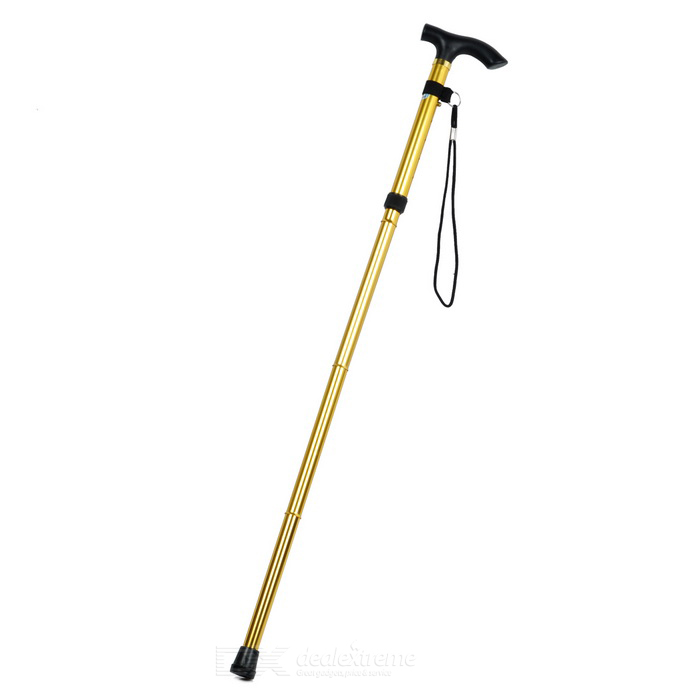 Retractable Aluminum Alloy Crutch for Old People - Golden + Black