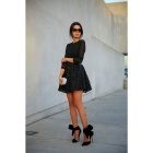 Fashion Women's Lace Long Sleeves Dress - Black (L)