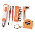 SDBL 18-in-1 Household Screwdriver Bits + Wrench Mini Repair Maintenance Tool Kit - Orange + Silver