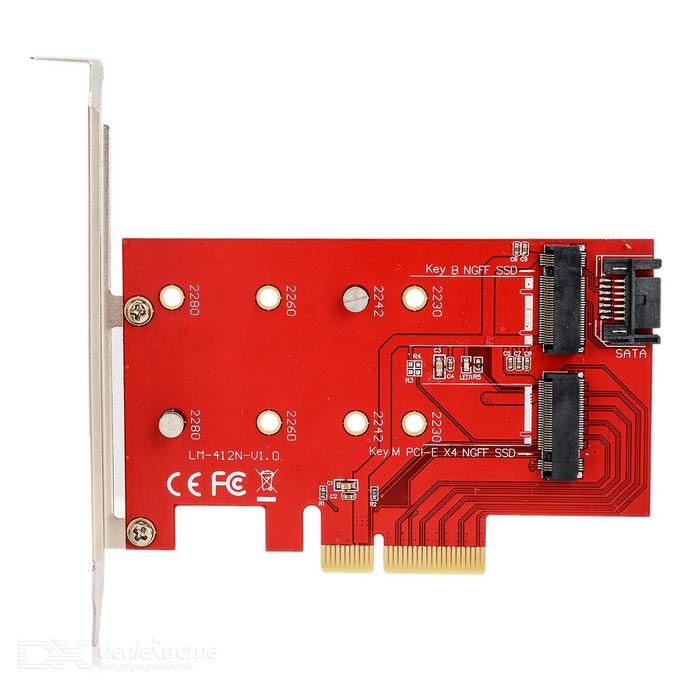 Desktop PCI-E X4 to SSD Adapter Riser Card - Red + Black