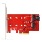 Desktop PCI-E X4 to Key B: M.2 (NGFF) SSD + Key M: NGFF (M.2) SSD Adapter Riser Card - Red + Black
