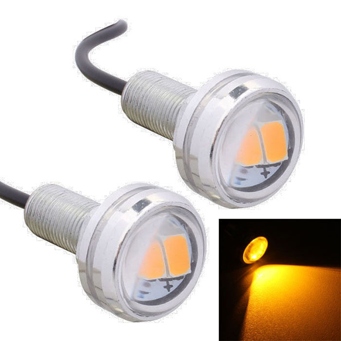 MZ 1.5W 22.5mm 3-SMD Spot LED Yellow Car Daytime Running Light (Pair)