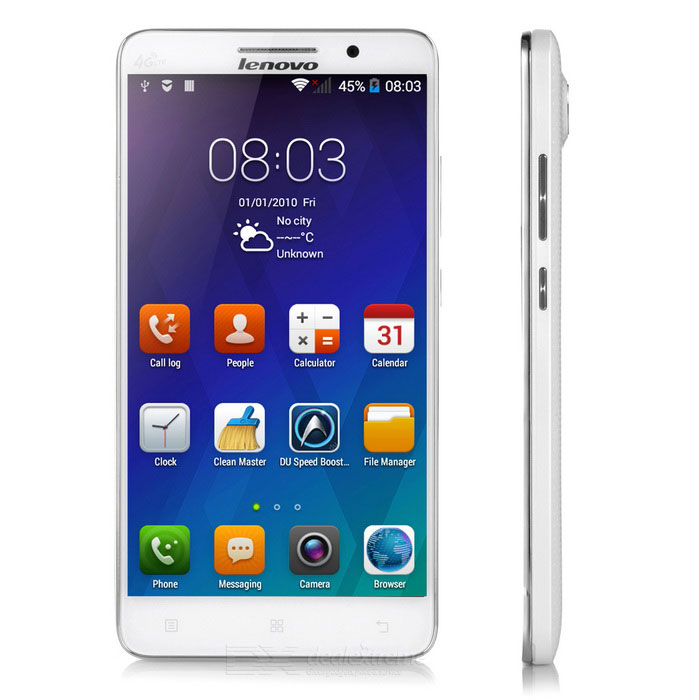 """Lenovo A5800D Ouad-Core-Android 4.4 4G TDD-LTE Smartphone w / 5,5 """", Wi-Fi, GPS, 4GB ROM - White"""