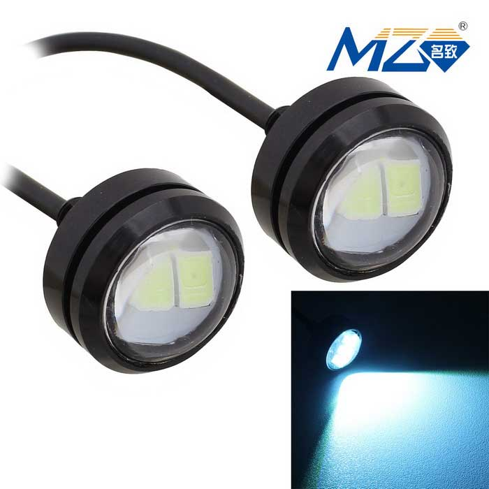 MZ 1.5W Spot LED Car Daytime Running / Fog Light Ice Blue 3-SMD (Pair)LED Eagle Eyes<br>Color BINIce blueModelN/AQuantity1 DX.PCM.Model.AttributeModel.UnitMaterialAluminumForm ColorBlackEmitter TypeLEDChip BrandOthers,N/AChip Type5630 SMD LEDTotal Emitters3PowerOthers,1.5WWavelength483~495 DX.PCM.Model.AttributeModel.UnitTheoretical Lumens180 DX.PCM.Model.AttributeModel.UnitActual Lumens150 DX.PCM.Model.AttributeModel.UnitRate Voltage12VWaterproof FunctionYesConnector TypeOthers,WiredOther FeaturesWire 55cmApplicationBackup light,Foglight,Daytime running lightPacking List2 x LED Lights<br>