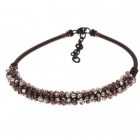 Mixed Color Crystal Silk Knot Design Necklace (Garnet and White)