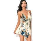 Women's Sexy Backless Deep V-Neck Flower Print Tapestry Dress (L)