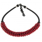 Scarlet Love Red Crystal with Silk Knot Design Necklace