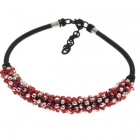 Red and Silver Crystal Gemstone with Silk Knot Design Necklace
