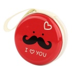 Stylish Mustache Pattern Storage Bag for Earphones / Earhook Headset - Red + White