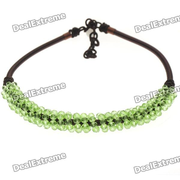 Peridot Green Crystal Silk Knot Design Necklace
