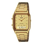 Genuine Casio AQ230GA-9D Vintage Analog Digital Watch - Gold
