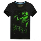 EXPERTEE Pure Cotton + Polyester 3D Printing Luminous T-Shirt - Black (Size L)